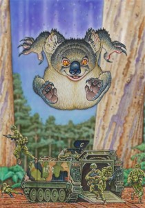 Artist's rendition of a drop bear