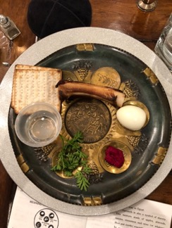 The seder plate at Passover dinner this year (2018)